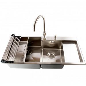 Chiuveta bucatarie inox dubla CookingAid ULTIMATE DUO cu dozator +tavita +gratar