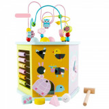 Cub educativ Montessori din lemn 8 in 1, cu activitati educative