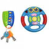 Set volan si cheie masina de jucarie pentru copii, cu sunete si lumini - 1036