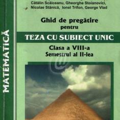 Matematica.Ghid de pregatire pentru teza cu subiect unic, cls. a VIII-a, sem. II