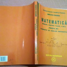 Matematica. Manual pentru clasa a XII-a Profil M1-Elemente de analiza matematica