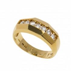 Inel aur galben 14K cu sapte diamante, 0.38ct., circumferinta 55.5 mm