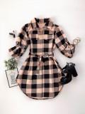 Cumpara ieftin Rochie ieftina casual stil camasa roz neagra cu carouri si cordon in talie