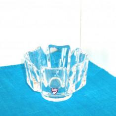 Bol cristal masiv turnat manual - Corona - design Lars Hellsten, Orrefors