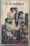 "AX 373 CP VECHE-FAMILIE NUMEROASA IN TINUTA DE EPOCA -,,SA VA TRAIASCA"""
