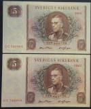 Lot/Set 2 BANCNOTE SERII CONSECUTIVE 5 COROANE - SUEDIA, 1963  *cod 609  A.UNC