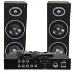 Set karaoke amplificator usb 2mic+2 boxe 6.5