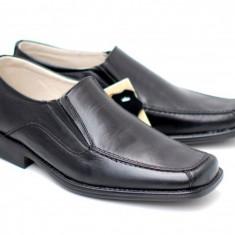 Pantofi negri eleganti barbatesti din piele naturala cu elastic - Made in Romania