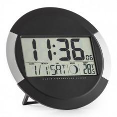 OneConcept Clockwork, ceas digital fără fir, de perete, termometru, calendar, faza lunii, suport