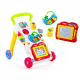 Cumpara ieftin Antepremergator Baby First Step, Jucarii detasabile, tabla de scris, telefon, pian, toate detasabile, lumini si sunete, 45 cm inaltime, Oem