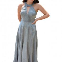 Rochie rafinata lunga Aemele cu croi clos,nuanta de argintiu