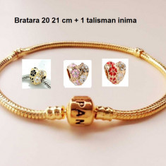Bratara PANDORA GOLD placata cu aur 14k - 20 si 21 cm + 1 TALISMAN INIMA, Femei