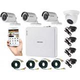 Cumpara ieftin Kit supraveghere video mixt 4 camere, 3 Hikvision exterior IR20m si 1 interior Rovision IR20m, accesorii incluse