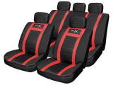 Set huse scaune auto Leather Look Sports Style Red, set complet huse scaun, husa volan , ornamente centura