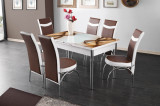 Set masa si 6 scaune, cu blat din sticla securizata si design modern 117