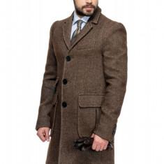 Palton Barbati Maro Smart Casual Lung din Tweed B125 Cof
