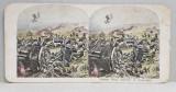 ARTILERIA CALARE ENGLEZA LA COMPAEGNY , FOTOGRAFIE STEREOSCOPICA , POLICROMA, PE CARTON , PRIMUL RAZBOI MONDIAL