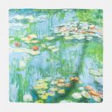 Esarfa patrata cu o singura fata imprimata cu reproducere dupa Nuferii de Claude Monet