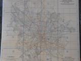 Harta Bucuresti, Fredi Wahnig, Lito Socec, 60x60 cm, liniile de tramvaie,interb.