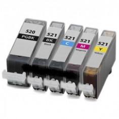 Set 5 cartuse canon PGI520 Bk/CLI521Bk/CLI521C/CLI521M/CLI521Y compatibile