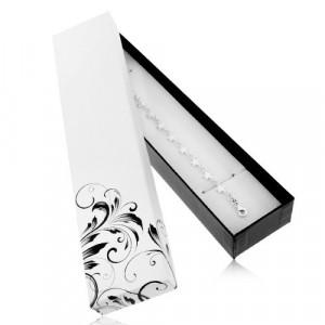 Cutiuță de cadou alb cu negru pentru lanț și ceas de mână, ornament floral