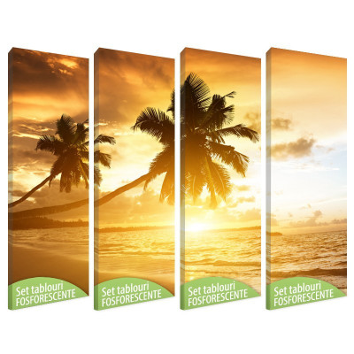 Set tablou canvas fosforescent, Tropical Island, 4 piese 20x60 cm foto