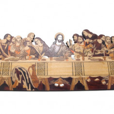Sofisticată panoplie iconografică din lemn intarsiat | Cina cea de Taină