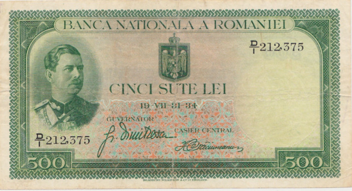 ROMANIA 500 LEI 1934 VF