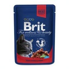 Pliculeț BRIT Premium Cat Carne de vită și mazăre 100 g