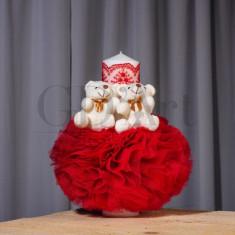 Lumanare Globulet Tulle Double Bear Red BBL-15, GD Art Baby