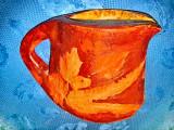 7889-Cana rustica ceramica veche anii 1900 manual executata.