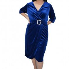 Rochie Vika din catifea,petrecuta,decolteu in V,albastru