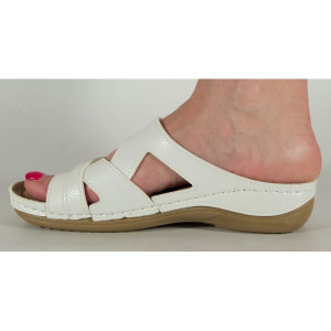 Saboti/Papuci medicinali albi cu platforma si gel pe talpa 154052