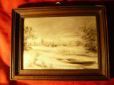 Tablou Peisaj de iarna -Stepa -ulei pe carton , dim.=16,8x11,7cm fara rama
