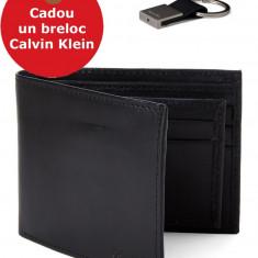 Set Portofel Calvin Klein Si Breloc - Bookfold & Key Fob Set, din piele, Negru