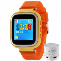 Ceas Smartwatch cu GPS Copii iUni Kid90, Telefon incorporat, Buton SOS, Bluetooth, LCD 1.44 Inch, Orange + Boxa Cadou