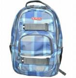 Cumpara ieftin Rucsac Skater, motiv Blue Checkers, 2 compartimente, compartiment pentru laptop si tableta, 43x27x18 cm, Herlitz