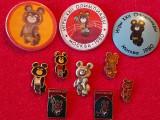 "Lot 10 insigne - ursuletul ""MISHA"" mascota Jocurilor Olimpice Moscova 1980"