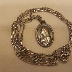 MEDALION argint FECIOARA MARIA finut VECHI splendid DELICAT rar pe Lant Argint