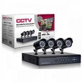 Sistem supraveghere CCTV kit DVR 4 camere exterior/interior, pachet complet,...