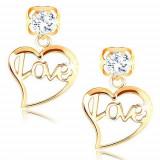 Cumpara ieftin Cercei din aur galben 14K - zirconiu transparent, contur de inimă cu inscripția Love