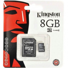 Card memorie kingston micro sdhc 8gb clasa 4 + adaptor sd, blister