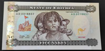 Bancnota EXOTICA 5 NAFKA - REPUBLICA ERITREA, anul 1997   *Cod 948 B = UNC foto