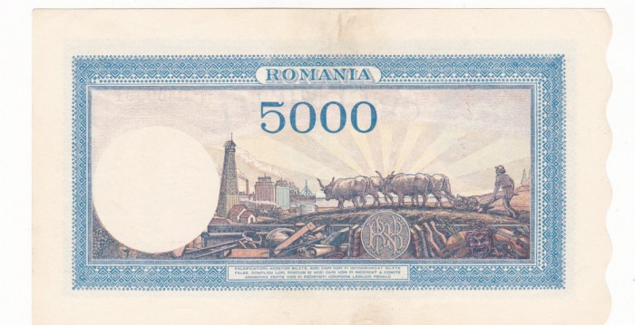 ROMANIA 5000 LEI SEPTEMBRIE 1943 AUNC