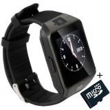 Cumpara ieftin Smartwatch iUni DZ09 Plus, Camera 1.3MP, BT, 1.54 Inch, Negru + Card MicroSD 8GB Cadou