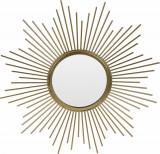 Oglinda de perete din Metal cu rama Aurie, model Soare, D 32.5 cm