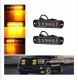 Set Lampi Stroboscopice 6 LED-uri Auto Utilaje Agabaritice Avertizare Stroboscoape Platforma Remorci