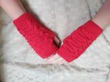 Manusi Fara Degete Crosetate 20cm Negre Fashion Handmade Unisex Dama Fata, Bleu, Orange, Rosu
