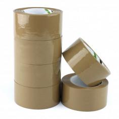 Banda adeziva baza solvent, rola 48mm x 132m, scotch maro ambalare, set 6 role