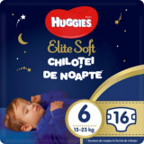 Scutece Huggies Chilotel de nopate Elite Soft Overnight Pants, nr 6, 15-25 kg, 16 buc